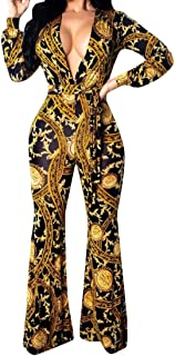 ea7f84b78a44 LEISHOP Women Low-Cut Deep V-Neck Loose Long Sleeve Printed Jumpsuits  Rompers