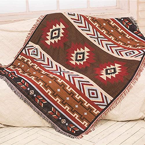 XHNXHN Toalla Decorativa 100% algodón Tejida para sofá, Funda para Silla, Colcha, Funda cálida (patrón geométrico) -160 * 210 CM