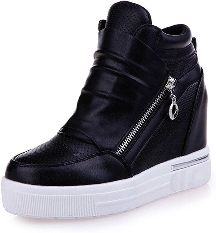 CYBLING Fashion High Top Women Hidden Heels Wedge Sneakers Anti-Slip Platform Zipper shoes