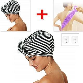 Luxury ladies shower cap, waterproof, hair cap, reusable shower cap and silicone shower gel Bath brush