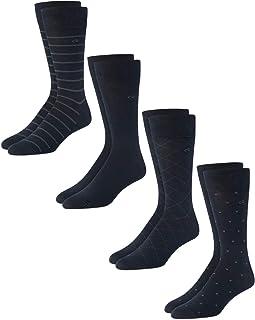 Men's Dress Socks – Cotton Crew Patterned Socks (4 Pack)