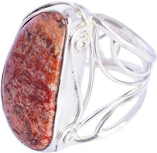 Ravishing Impressions Jewellery Anillo de plata de ley 925 con piedra de jaspe de serpiente hermosa hecha a mano, para niñ...