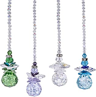 H&D Beautiful Angel Crystal Ball Pendant Chandelier Decor Hanging Prism Ornaments,Crystal Ornament Ball Suncatcher Window Prisms,Pack of 4
