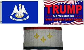 ALBATROS 3 ft x 5 ft Trump 2016 with State of Louisiana with City of New Orleans Set Flag for Home and Parades, Official Party, All Weather Indoors Outdoors