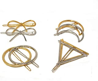 yueton 4件套金银三角形 barrettes bobby 别针发夹新娘头饰边夹 clamps