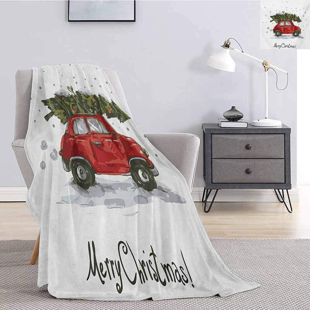 クリスマス寝具フリースブランケットクイーンサイズ赤レトロスタイル車クリスマスツリーヴィンテージ家族スタイルイラスト雪の降る冬のアートスーパーソフト居心地の良いクイーンブランケットレッドグリーン 120X150