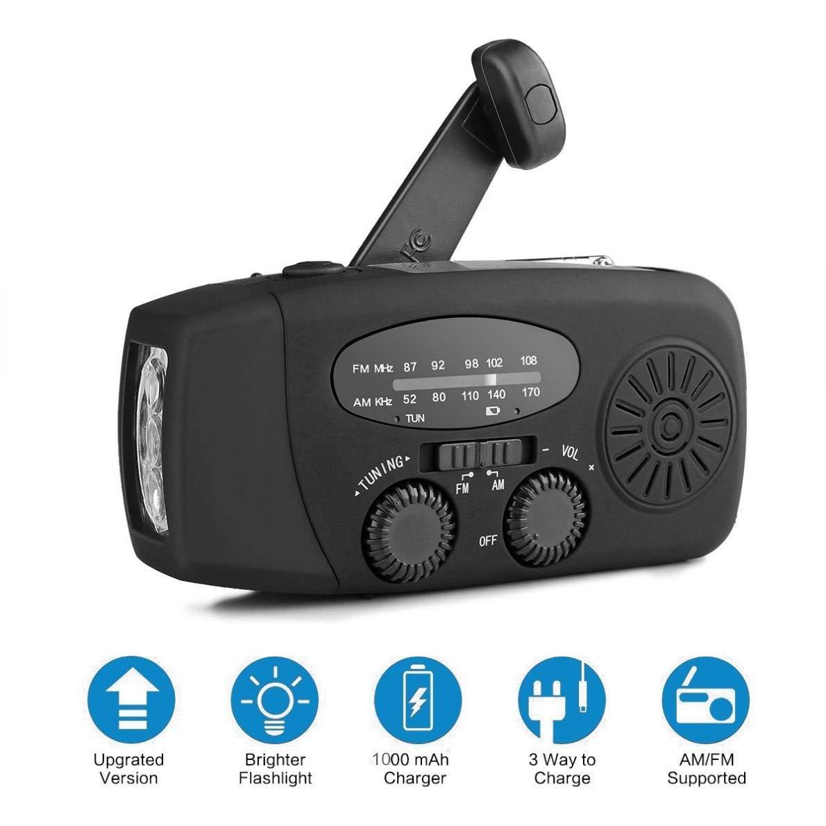 Radio solar de emergencia con linterna LED AM/FM, banco de poder ...