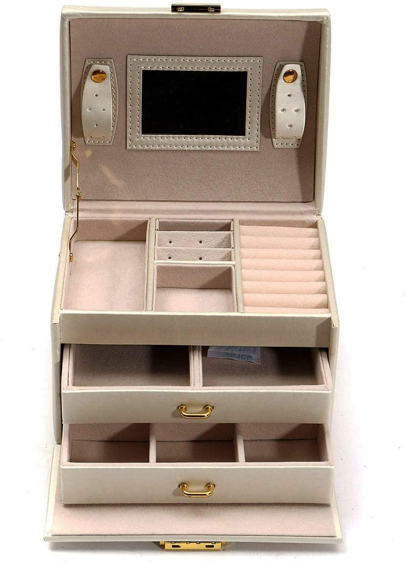 TNJ 3 Layers Drawer 2021 model Manufacturer OFFicial shop Holder Case Velvet Jewelry Mirror Box with