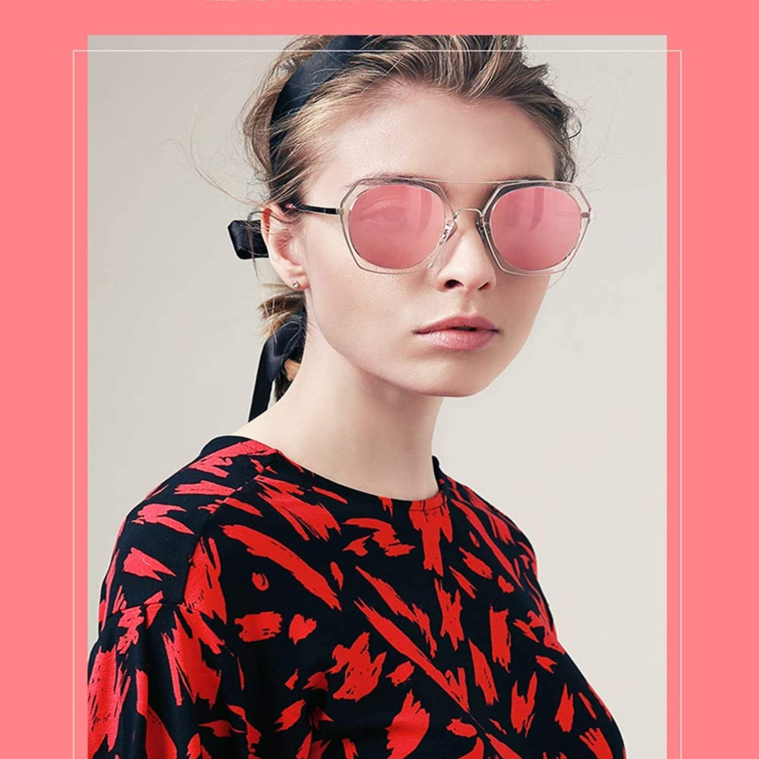 XINGZHE Sunglasses  Polarized, UVResistant, Stylish Retro, Temperament Frame, Men's and Women's Driving Shopping, Outdoor Activities, 2 colors to Choose from Sunglasses (color   pink Powder)
