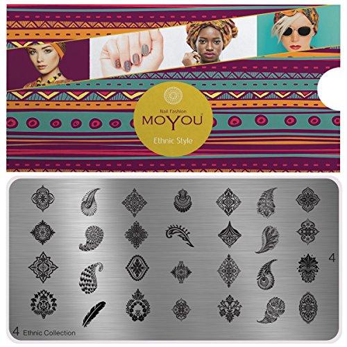 MoYou's XL Ethnic 4 Stamping Schablone, Nail Art Stampling - Nagel Lack Stempel, mandala Maniküre