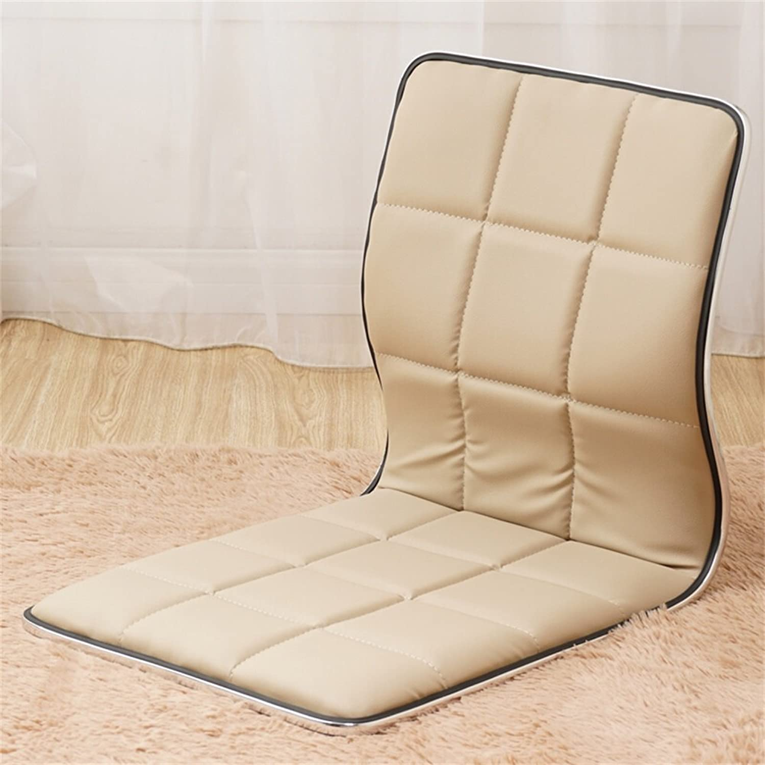 DQMSB Floor Chair Lazy Sofa Japanese Style Wooden Single Bed Legless Dormitory Computer Chair Chair (color   Beige)