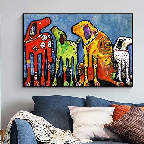 ganlanshu Wandmalerei Tiermalerei buntes Hundebild auf Leinwand für Wohnzimmerdekoration,Rahmenlose Malerei-60X90cm