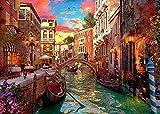 LSJDEER Italia Venecia Rompecabezas de 1000 Piezas para Adultos de los niños, la Ciudad de Agua, río, Ferry, romántico Jigsaw Puzzle Juguetes Grande la decoración del hogar