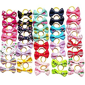 Chenkou Craft 40pcs/20pairs New Dog Hair Bows with Rubber Band Pet Grooming Products Mix Colors Varies Patterns Pet Hair Bows Dog Little Puppy Accessories (Bow with Rubber Band)