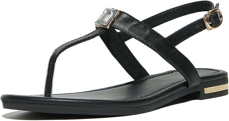 Genuine Leather Women Sandals Bohemian Diamond Flip Flops Woman Flats Flip Flops shoes Summer Beach Sandals