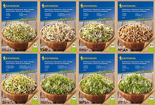 Kiepenkerl Bio Keimsprossen Set, 8 Sorten, Kresse, Brokkoli, Rettich, Radies, Weizen, Rauke, Bohnen, Alfalfa