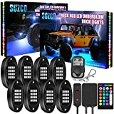 SUZCO 8Pods Truck RGB LED Rock Underglow Lights Kit, Dual-Zone Control + 128-LEDs + 2-in-1 Design + Underbody & Wheel Light Multicolor Neon Under Light Set 12V with APP/RF/IR for Jeep Offroad ATV SUV