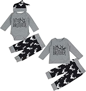 Toddler Newborn Baby Boy Matching Outfits Big Brother Little Brother Deer Romper