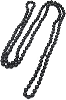 57'' Length 8mm Simulated Glass Pearl Long Necklace Multi Layer Statement Necklace Women