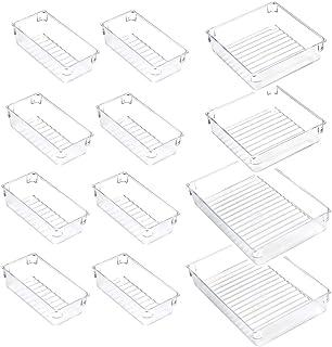 ACCEVO 12 pièces Boîte de rangement tiroir maquillage transparent , organisateur de tiroir en plastique antidérapant pour ...