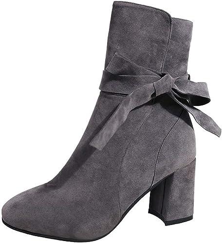 GTVERNH Chaussures Femmes Joker épais Et Peu De Bottes 7Cm Talon Martin Bottes Bottines Velvet Moyenne Tube De Bottes.