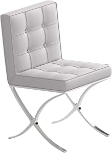 Deosung Dining Chairs Corrected Grain Contemporary Barcelona Style Chair White