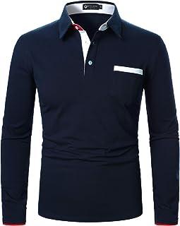 STTLZMC メンズ コットン 長袖 ポロシャツ カジュアル ゴルフウェ テニス シャツ