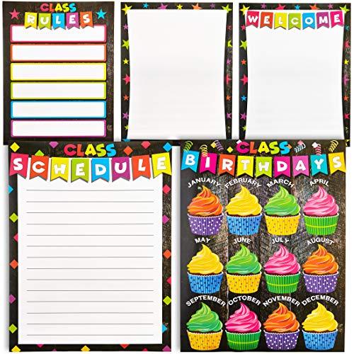 Klassenzimmer-Poster (5er-Pack) - Klassenzimmer-Grundlagen-Diagramme für Lehrer mit Begrüßung, Zeitplan, Regeln, Geburtstagen und Zuschnitt, 157 GSM, 43,2x 55,9cm