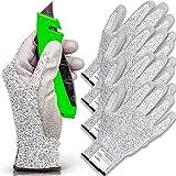 FORTEM Cut Resistant Gloves, 4 Kevlar Gloves, Level 5 Protection Cutting Gloves, Kitchen Work Gloves...