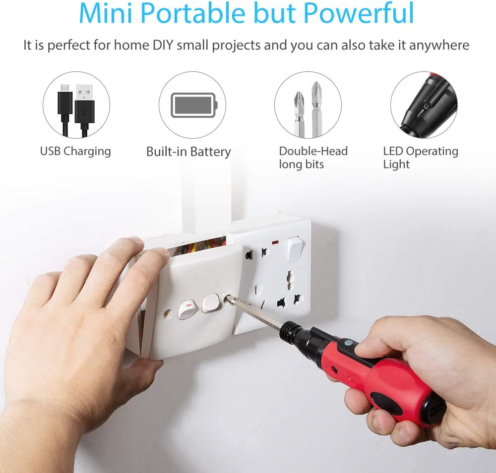HLFVLITE Electric Screw Driver Rechargeable Cordless Screwdriver 4V Multifunction Charging Drill Tool 900mAh Li-ion Battery with LED Light for Hobby Home DIY