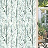DKTIE Static Cling Decorative Window Film Vinyl Non Adhesive Privacy Film,Stained Glass Window Film for Bathroom Shower Door Heat Cotrol Anti UV 17.7In.by 78.7In.