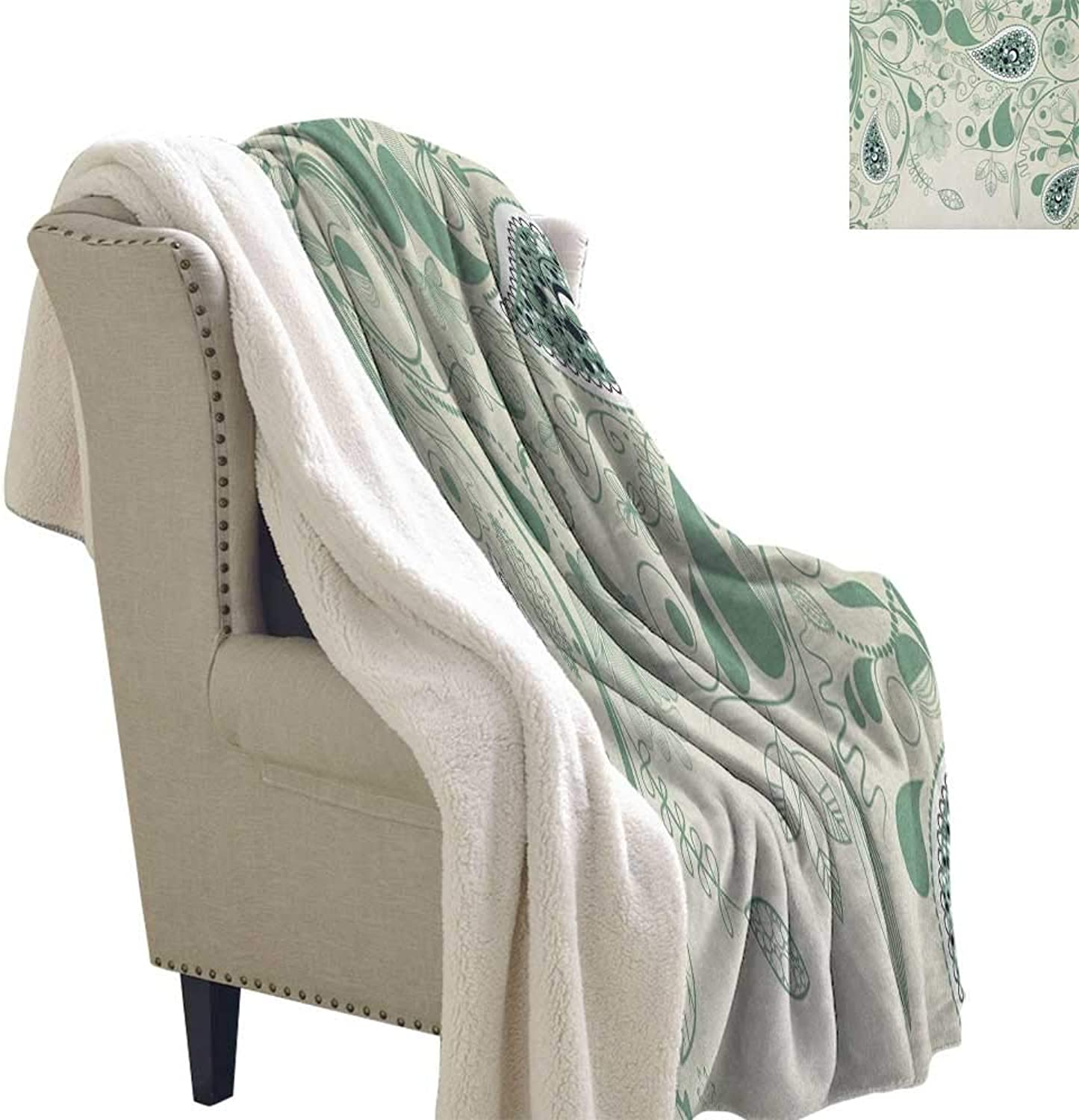 Suchashome Paisley Warm Breathable Comforter for Girls Kids Adults Vintage Aged Floral Paisley Patterns on Retro Art Background in Persian Style Blanket Small Quilt 60x47 Inch Laurel Green