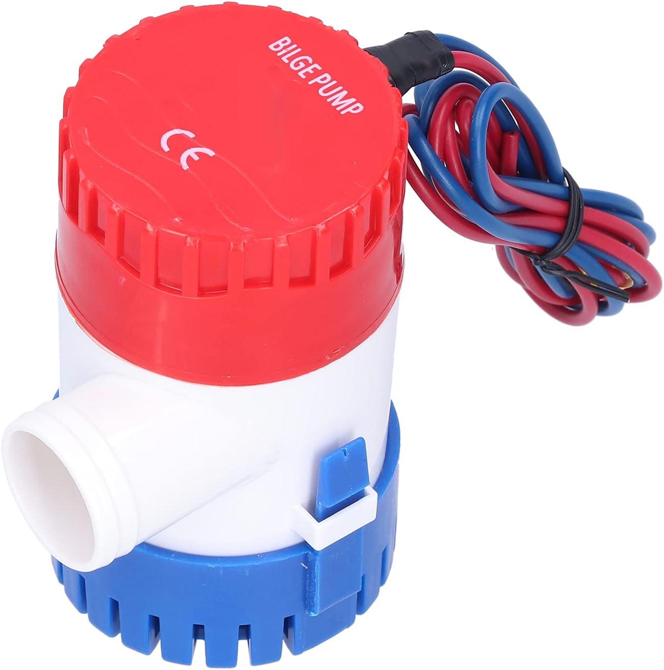 Bomba de sentina de 12V / 24V 350/500/750 / 1100GPH, bomba de sentina de bajo ruido, bomba sumergible pequeña eléctrica con interruptor semiautomático para drenaje que proporciona energía(12V-500GPH)