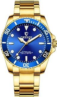 Men Rotatable Bezel Blue Dial Luminous Watch Gold Stainless Steel Band Waterproof Analog Quartz Watches