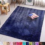 PAGISOFE Navy Fluffy Shag Area Rugs for Bedroom 5x7,Soft Fuzzy Shaggy Rugs for Living Room Carpet Nursery Floor Girls Dorm Room Rug