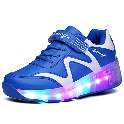 Ufatansy Uforme Kids Wheelies Lightweight Fashion Sneakers LED Light Up Shoes Single Wheel Double Wheels Roller