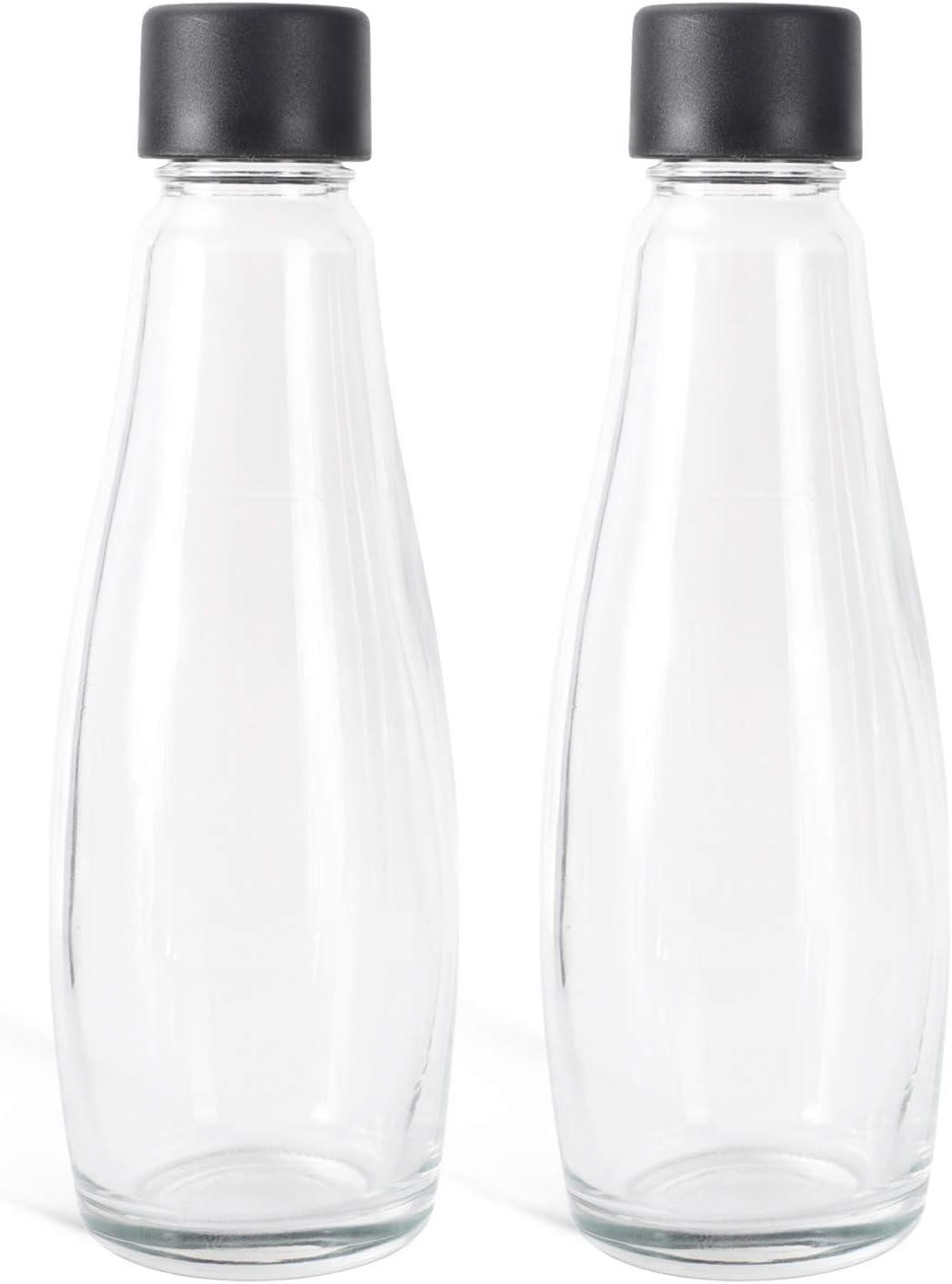 Levivo Botellas de Vidrio para el Fabricante de Refrescos WATER & JUICE, Como Complemento, Volumen de 0.6 l, se Puede Utilizar como Jarra de Vidrio, Duradera que las Botellas de PET, 2 Botellas