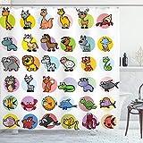 ABAKUHAUS Zoo Duschvorhang, Lustige Cartoon Tiere Set, mit 12 Ringe Set Wasserdicht Stielvoll Modern Farbfest & Schimmel Resistent, 175x180 cm, Mehrfarbig