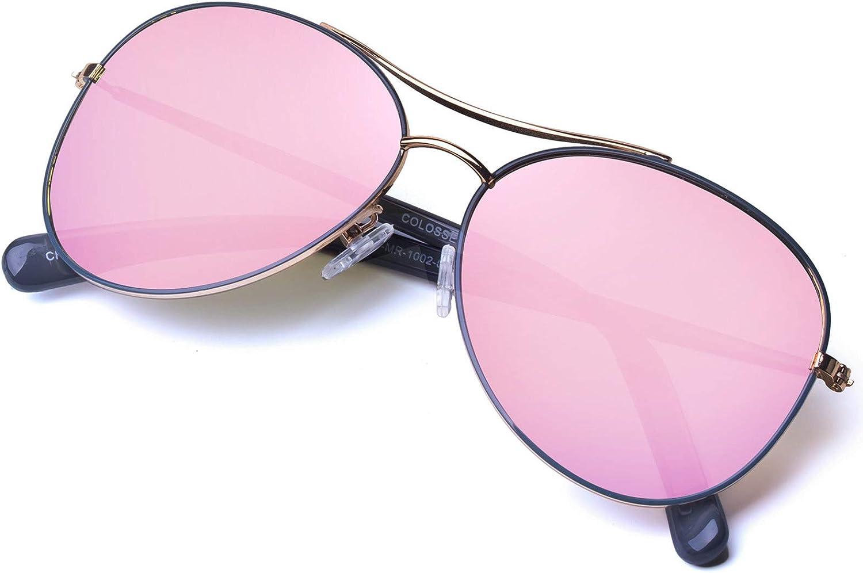 Classic Aviator Sunglasses For Men Women, Light gold Metal frame,Gradient Lens