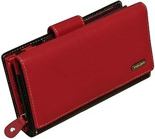 Portefeuille Souple pour Femme - 19 emplacements pour Cartes/Protection RFID - Cuir véritable - Rouge/Noir