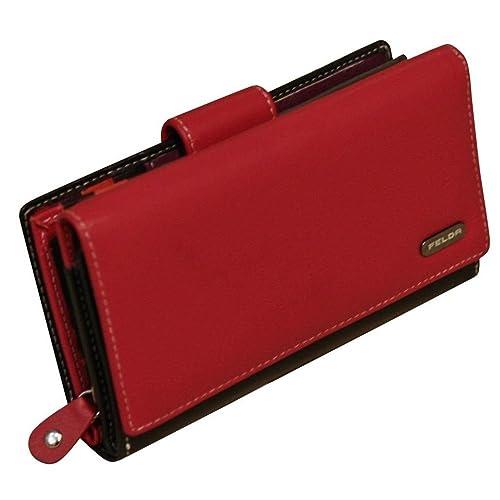 Felda Womens Genuine Soft Leather Clutch Wallet - RFID Protection - Red    Black fdb7c5e26
