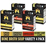 Bone Broth Variety Pack by Kettle and Fire, Pack of 4, Chipotle Beef, Lemongrass Ginger Beef,...