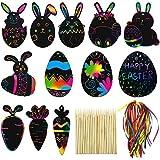 48 Pezzi Pasqua Scratch Paper Arcobaleno Color Scratch Ornamenti Kit Artistici Appesi con Bastoncino di Legno e Nastro perBomboniere per Feste di Pasqua