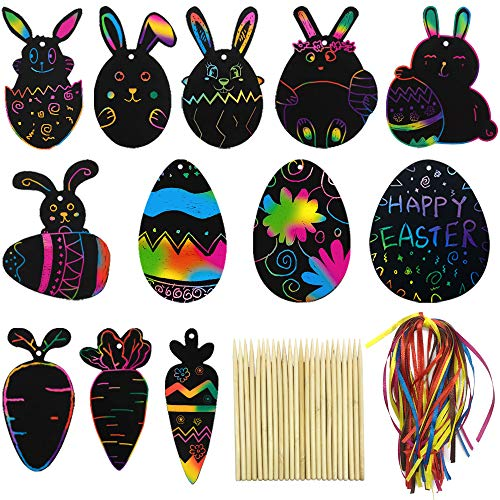 Carrot and Eggs Hanging Ornaments for Children DIY Party Favors 48 Pcs Rainbow Scratch Paper Art Set for Easter Decoration Cute Rabbit Easter Crafts for Kids