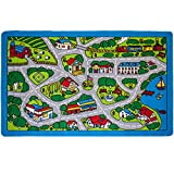 Mybecca Kids Rugs Street Map in Grey 5' X 7' Childrens Area Rug - Non Skid Gel Backing (59' x 82')