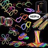 IREGRO Knicklichter 200 Stücke Leuchtstäbe Armreifen Glowstick Partylichter inkl. 100 x 2D-Verbinder, 4 x Kreisverbinder, 4 x 7-Loch-Verbinder vielfarbig