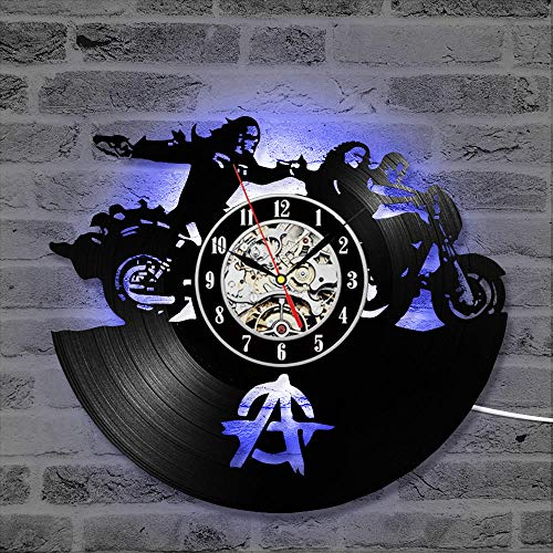 LittRur 7-kleuren transformatie LED vinyl plaat wandklok indoor bar muur sfeerdecoratie cadeau, Sons of Anarchy