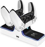 Powerextra Cargador para Mando PS5-Base de Carga Portátil con LED Indicador-Carga Dual con 2 Puertos Type-C Carga...