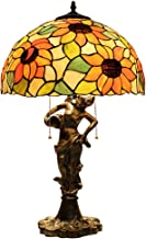 Tiffany Lamp Baroque Style Glaslampenkap Verlichting Antieke Basis Voor Woonkamer Slaapkamer Nachtkastje Tafellamp-Tiffany...
