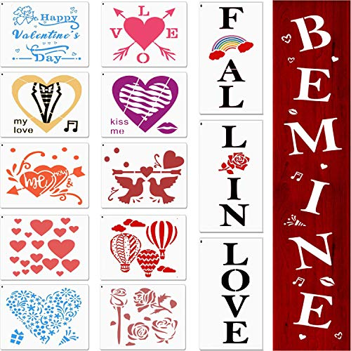 Valentine Stencils for Painting on Wood,Fall in Love and Be Mine Sign Stencils,Love Heart Reusable Template for Window Wall Door DIY Craft Card Making Scrapbook Gift